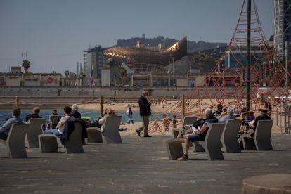 Beachgoers at Bogatell beach in Barcelona on Thursday.