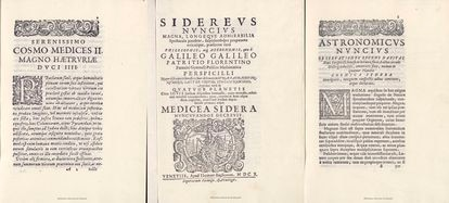 Pages from the forged copy of 'Sidereus Nuncius' by Galileo.