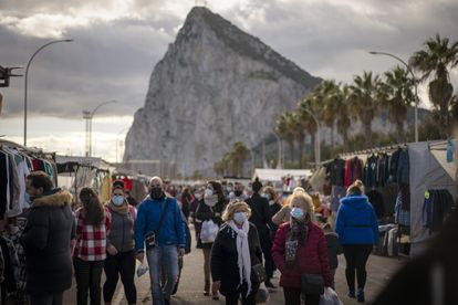 A market at La Linea this week, with Gibraltar visible in the background.