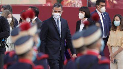 Spanish Prime Minister Pedro Sánchez arrives to celebrate Spain's National Day.