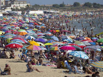 Playa de Regla, one of the most popular beaches in Cadiz province.