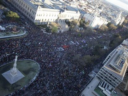An aerial view of Saturday's protest, in Madrid's Colón square.