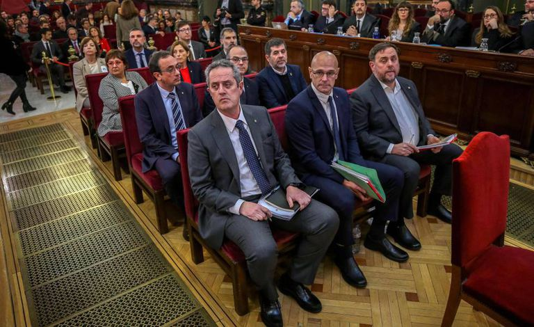 The 12 defendants in the ongoing trial of Catalan independence leaders.