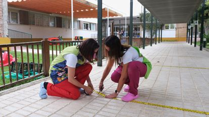 Staff at a school in Andalusia make preparations ahead of the new academic year.