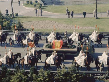 Franco's funeral procession in Madrid.