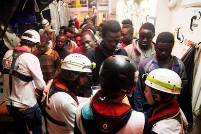 A group of migrants on the 'Aquarius' ship.