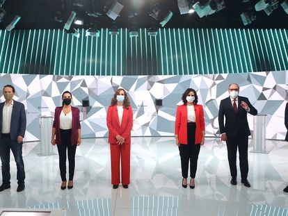 From left to right: Pablo Iglesias, Rocío Monasterio, Mónica García, Isabel Díaz-Ayuso, Ángel Gabilondo and Edmundo Bal during Wednesday's debate.