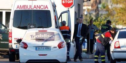 Ashya King arrives at Málaga airport inside an ambulance.