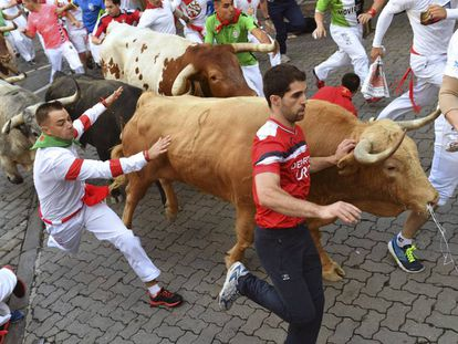 Day 1 of the Running of the Bulls in Pamplona.