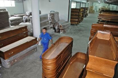 Ataúdes Gallego, a coffin factory located in Piñor.