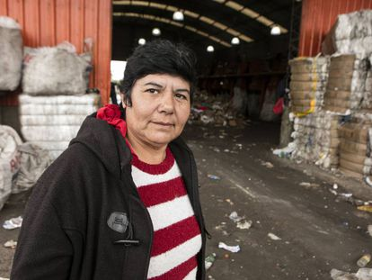 Nora Rodríguez at the Bella Flor solid waste recycling cooperative.