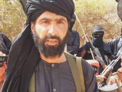 Adnan Abu Walid Sahraoui swears allegiance to the Islamic state in 2015 in a propaganda video.