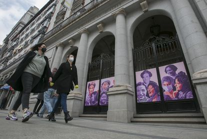 A mural for International Women's Day at the Equality Ministry in Madrid.