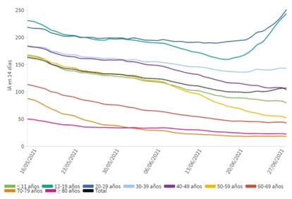 Coronavirus incidence rate by age as of May 15.