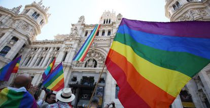 Gay rights supporters celebrate as an LGTB banner is hung from Madrid City Hall.