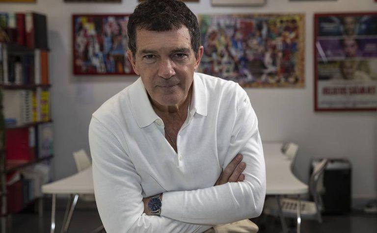 Antonio Banderas in the offices of Almodóvar's El Deseo production company.