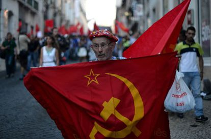 A Communist Party member at a march organized by the PCP in Lisbon in July.