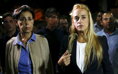 The mother of Leopoldo López, Antonieta, and his wife, Lilian Tintori, after hearing the sentence.