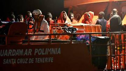 African migrants rescued by Spanish services.
