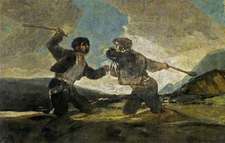 Goya's 'Fight with Cudgels,' a symbol of fraternal violence.