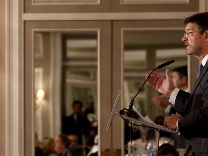 Acting justice minister Rafael Catalá speaking in Madrid on Monday.