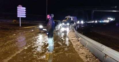 Civil Guard officers outside Sant Llorenç des Cardassar after the heavy rainfall in the area.