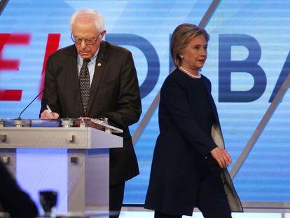 Bernie Sanders and Hillary Clinton during the debate.