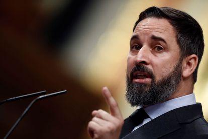 Vox leader Santiago Abascal speaking in Congress on Thursday.