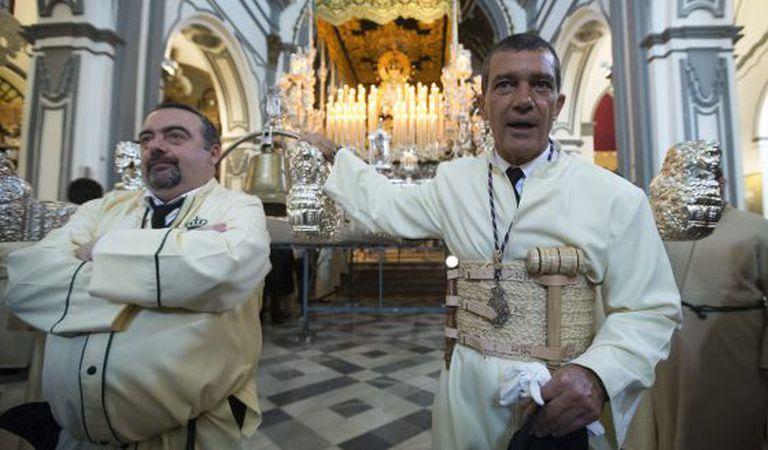 Antonio Banderas was the steward in an Easter procession in Málaga.