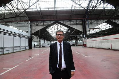 The head of the Pompidou Center, Serge Lasvignes, at the site of the Brussels branch.