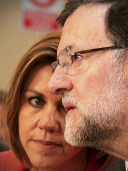 Mariano Rajoy and PP secretary general Maria Dolores de Cospedal.