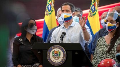 Opposition leader Juan Guaidó at a news conference in Caracas on Wednesday.