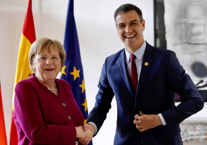 German Chancellor Angela Merkel and Spain's Prime Minister Pedro Sánchez.