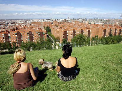 The Puente de Vallecas neighborhood as seen from the Cerro del Tio Pío park, in Madrid.