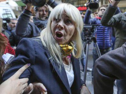 Maradona's ex-wife Claudia Villafañe leaves a Buenos Aires courthouse on Tuesday.