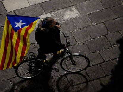 A man protests against Madrid's application of emergency powers in Catalonia.
