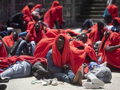 Migrants rescued in Tarifa.