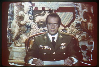 Juan Carlos addressed Spaniards on the night of February 23, 1981 to show support for the fledging democracy against a coup attempt.