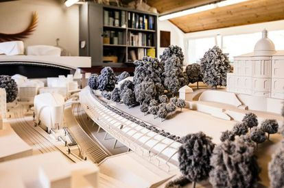 A model of the Stadelhofen station in Zurich, one of Calatrava's projects.