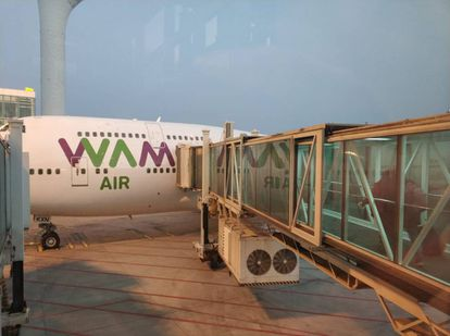 The aircraft taking evacuees to Madrid is owned by the Spanish airline Wamos.