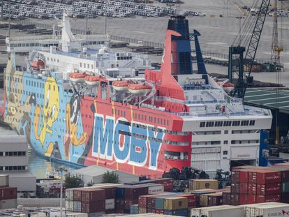 'Moby,' one of the ships rented by the Interior Ministry to house members of Civil Guard and National Police.