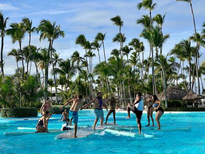 Tourists in Punta Cana Hotel in December 2020.