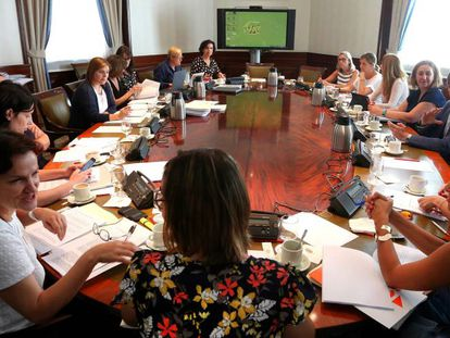 A meeting on the gender violence pact.