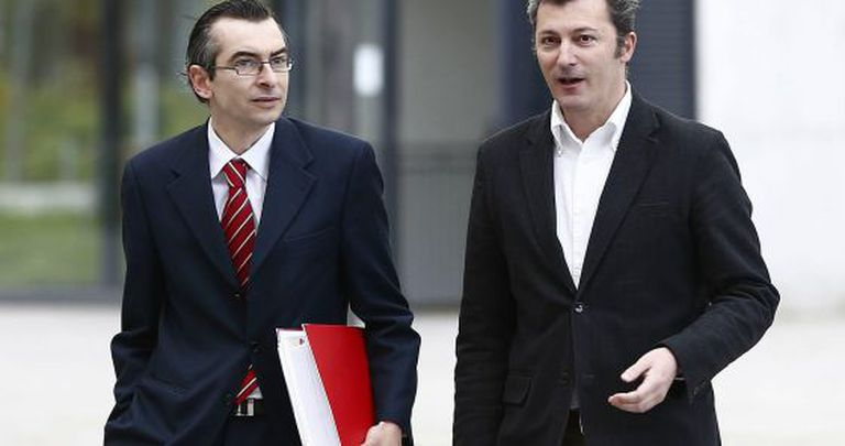 Santiago Cervera (right) on his way to court in April with his lawyer Sergio Gómez.