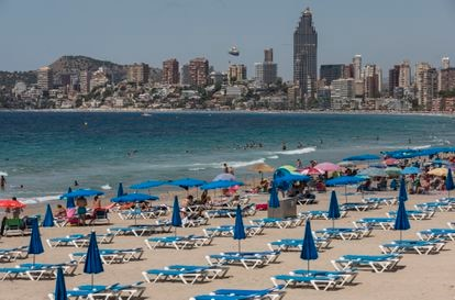 Benidorm beach in Valencia in July 2020.