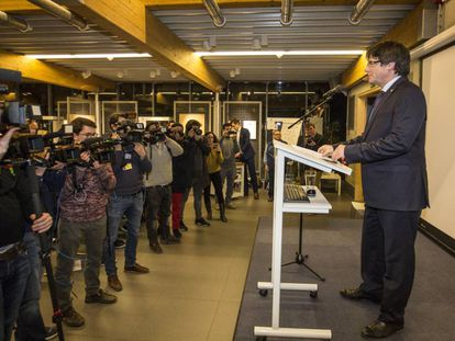 Carles Puigdemont at a press conference on Tuesday.