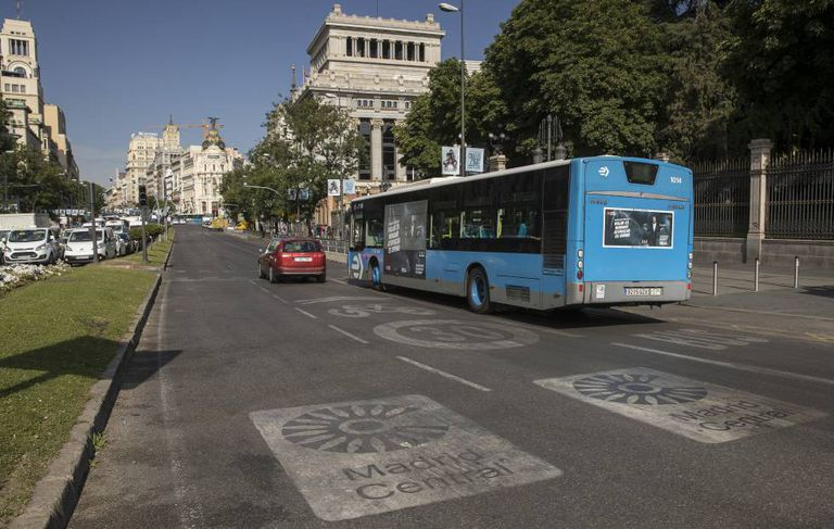 One of the entrances to the Madrid Central low-emissions zone in the Spanish capital.