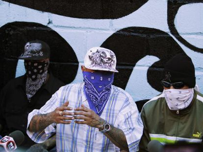 Members of the Barrio 18 street gang attend a news conference at the prison in San Pedro Sula.