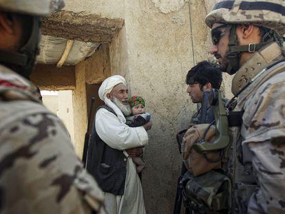 Spanish soldiers on patrol in Badghis province in Afghanistan in 2012.