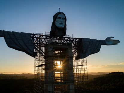A view of the 43-meter Christ the Protector under construction in Encantado, Brazil.